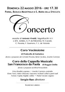 Parma - Steccata 22 maggio 2016 Magnificat 2 cori – LOCANDINA